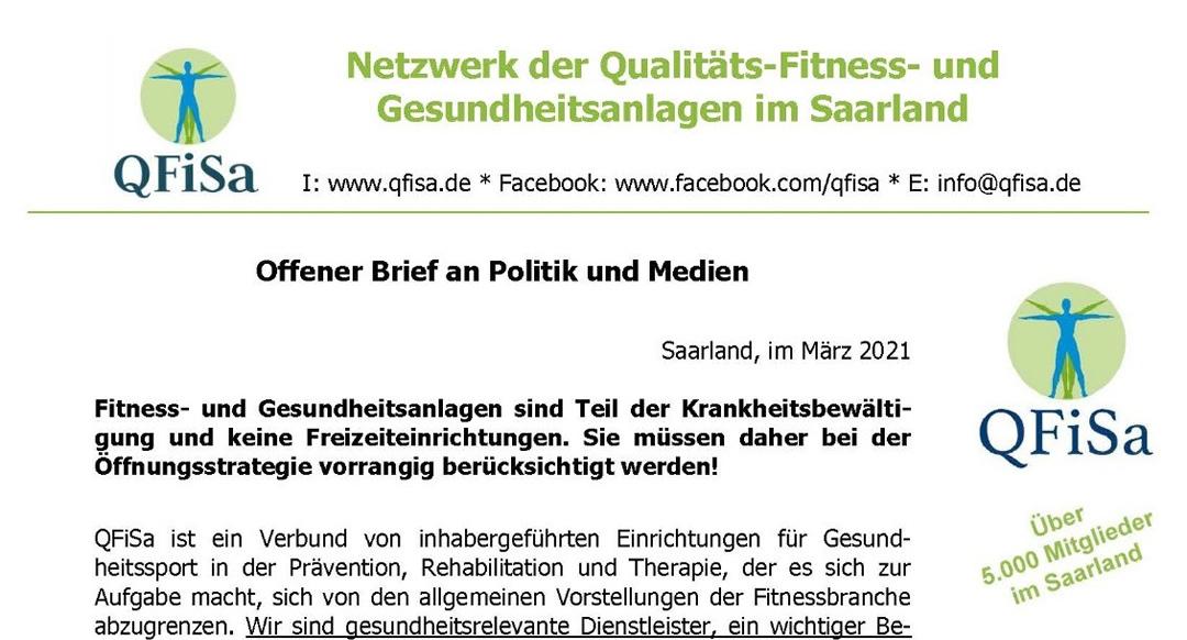 Offener Brief an Politik und Medien: Fitness- und Gesundheitsanlagen müssen geöffnet werden!
